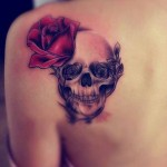 back skull and rose tattoo design