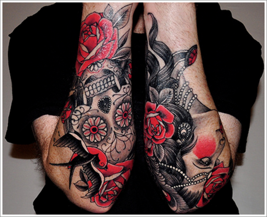 skull and roses tattoo on sleeve design of tattoosdesign of tattoos. Black Bedroom Furniture Sets. Home Design Ideas
