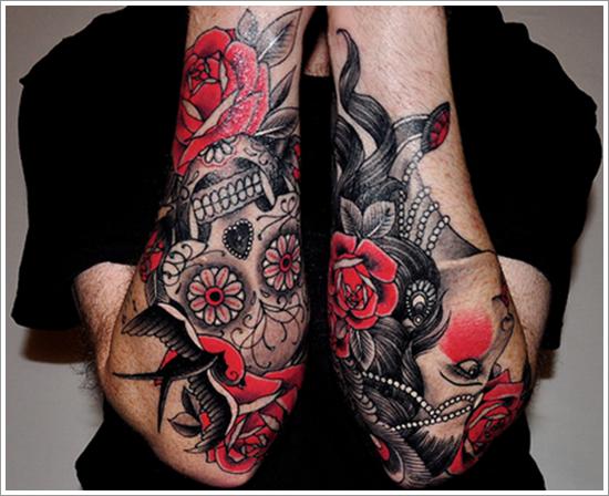 rose tattoo design on sleeve