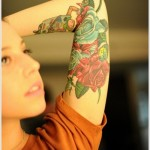 halfsleeve rose tattoo design