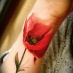 watercolor poppy tattoo design