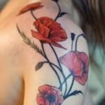 shoulder poppy tattoo design