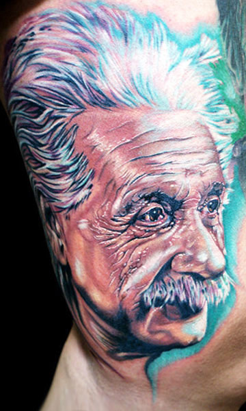 Cecil Porter Einstein portrait tattoo