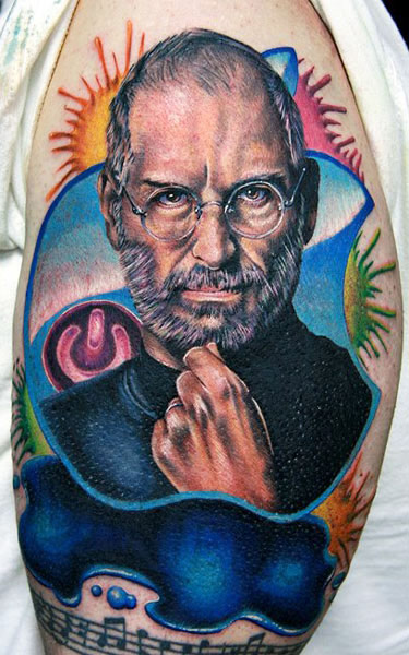 steve jobs portrait tattoo by cecil porter design of tattoosdesign of tattoos. Black Bedroom Furniture Sets. Home Design Ideas