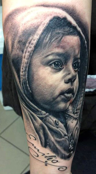 baby portrait tattoo by andy engel design of. Black Bedroom Furniture Sets. Home Design Ideas