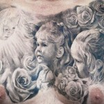 Carlos Torres children portrait on chest tattoo