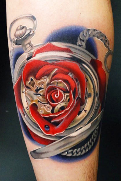 Andres Acosta clock and rose tattoo