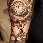 Niki Norberg clock and skull tattoo design