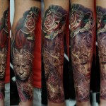 Dmitriy Samohin colorful full sleeve tattoo