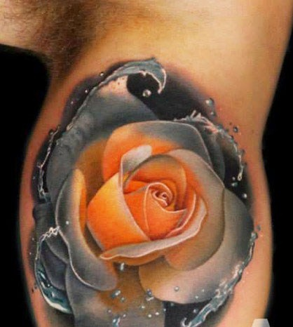 Colored Rose Tattoo On Sleeve By Andres Acosta Design Of