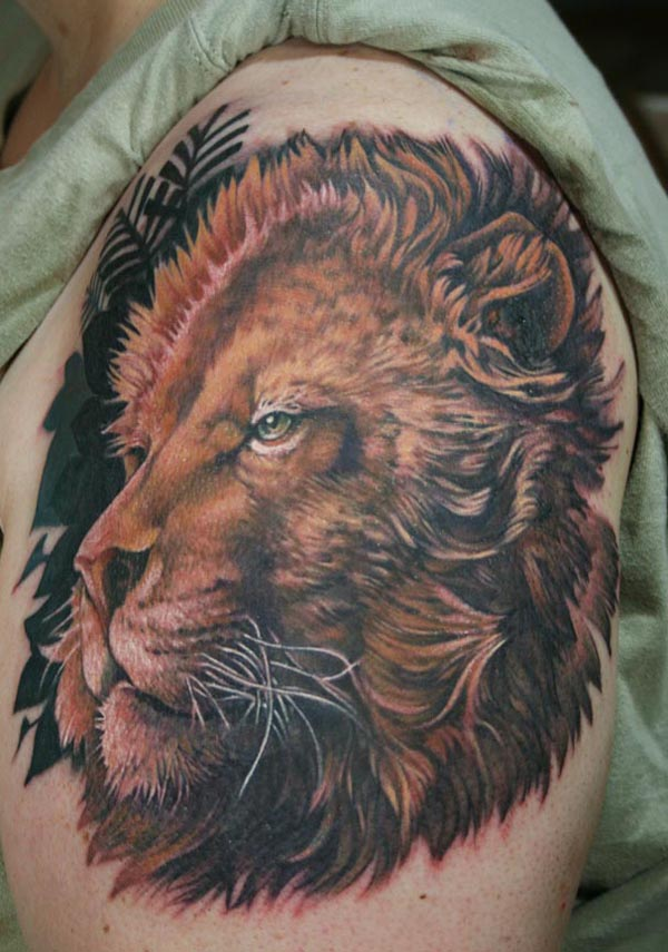 colorful and realistic lion tattoo design of tattoosdesign of tattoos. Black Bedroom Furniture Sets. Home Design Ideas