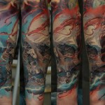 Dmitriy Samohin colorful full sleeve tattoo design
