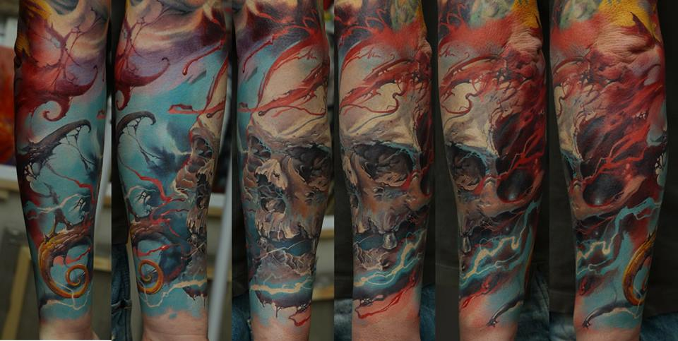 colorful skull full sleeve tattoo by Dmitriy Samohin - Design of ...