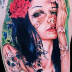 Cecil Porter colorful sleeve portrait tattoo