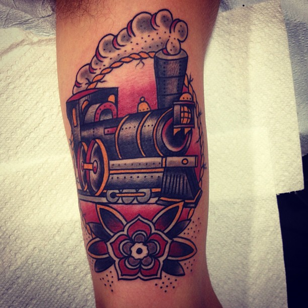 colorful traditional train tattoo by matt houston design of tattoosdesign of tattoos. Black Bedroom Furniture Sets. Home Design Ideas