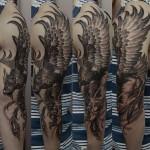 Dmitriy Samohin eagle full sleeve tattoo design