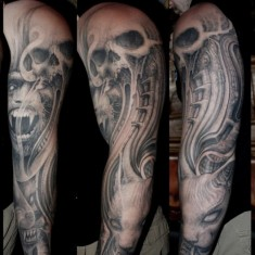 Paul Booth evil full sleeve tatto