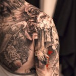 Niki Norberg fantastic sleeve and chest tattoo