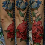 Dmitriy Samohin flower full sleeve tattoo
