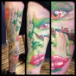David Klvac full sleeve tattoo on leg