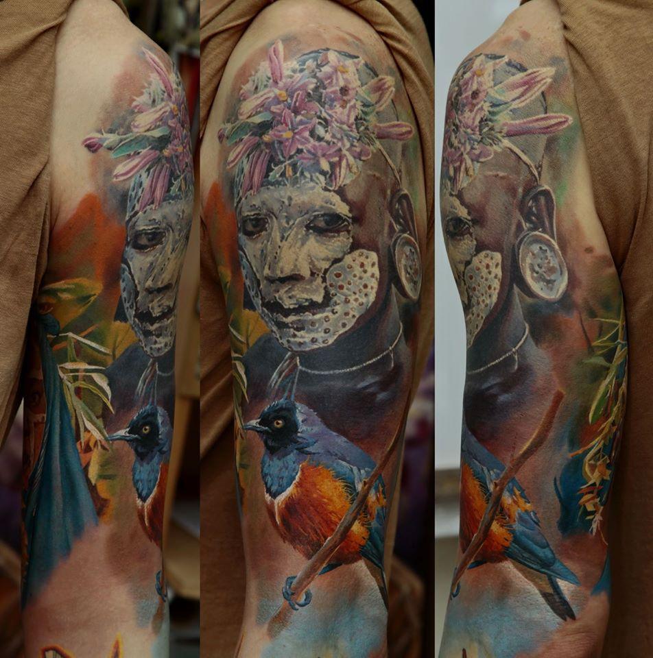 Dmitriy Samohin full sleeve portrait tattoo