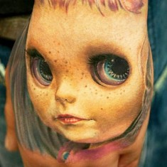 hand portrait tattoo by Andy Engel