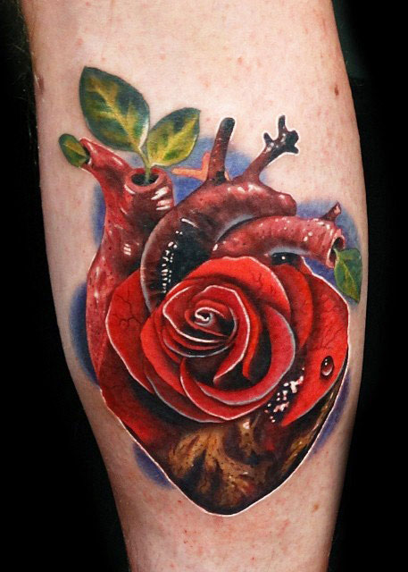 heart and rose tattoo designed by andres acosta design