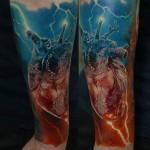 Dmitriy Samohin heart full sleeve tattoo
