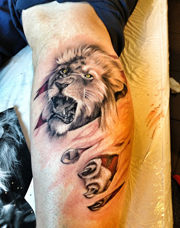 Leg Lion Tattoo Design In 3D