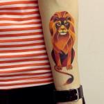 colorful lion tattoo by sasha unisex