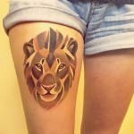 sasha unisex leg lion tattoo