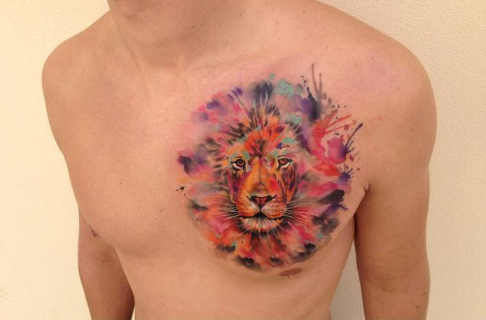 Lion watercolor tattoo by ondrash design of for Watercolor tattoo designs