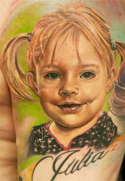 Andy Engel little girl portrait tattoo