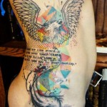 Xoil bird and quote tattoo