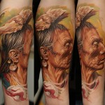 Dmitriy Samohin woman portrait full sleeve tattoo