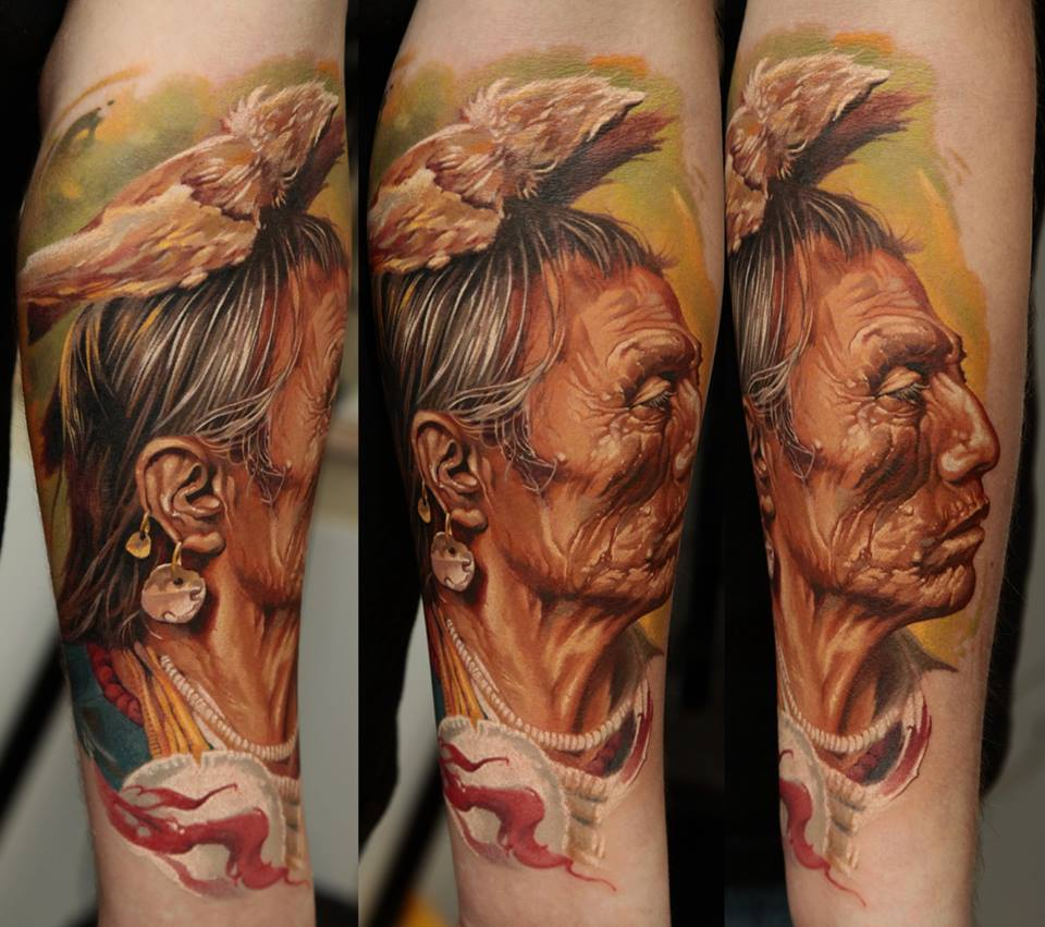Dmitriy Samohin woman portrait full sleeve tattoo