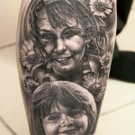 Andy Engel portrait tattoo designed on leg