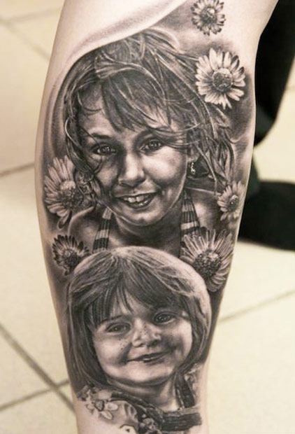 Andy Engel portrait tattoo designed on leg
