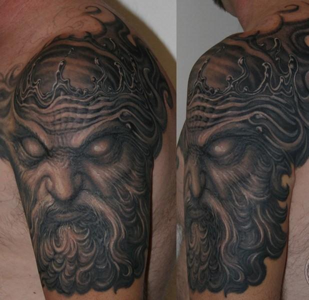 Half sleeve poseidon half sleeve tattoo by paul booth design of