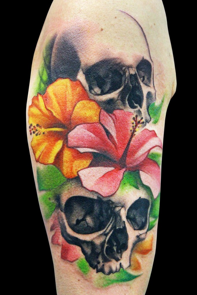 flowers and skull tattoo by maximo lutz design of ForSkull And Flowers Tattoos