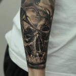 Dmitriy Samohin dark skull tattoo design