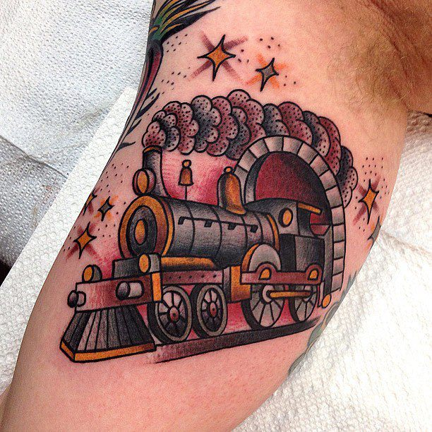 train tattoo by matt houston design of tattoosdesign of tattoos. Black Bedroom Furniture Sets. Home Design Ideas