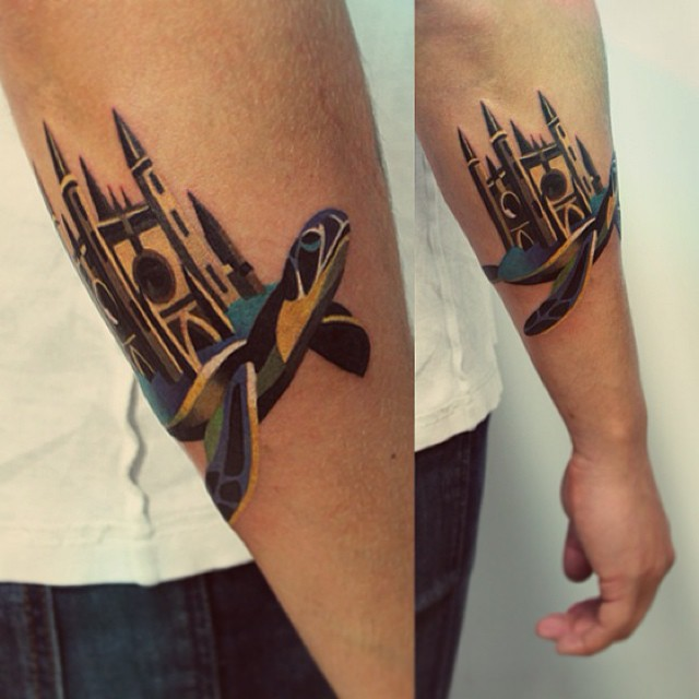 Turtle And Gothic Chapel Tattoo By Sasha Unisex