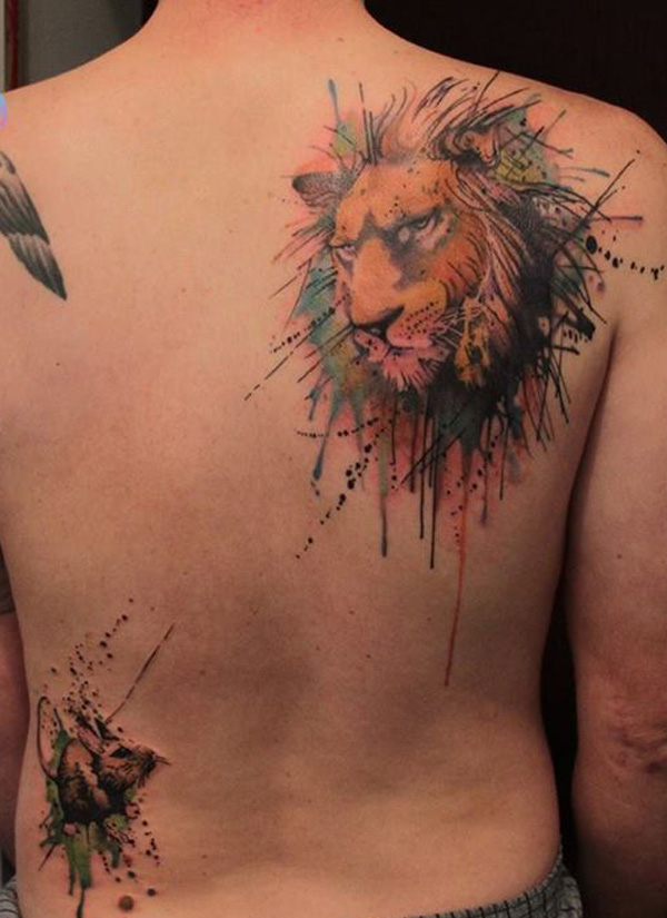 watercolor lion tattoo design of tattoosdesign of tattoos. Black Bedroom Furniture Sets. Home Design Ideas