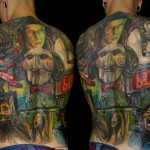 Csaba Kolozsvari colorful full back tatto