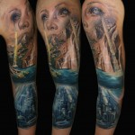 Csaba Kolozsvari creative full sleeve tattoo