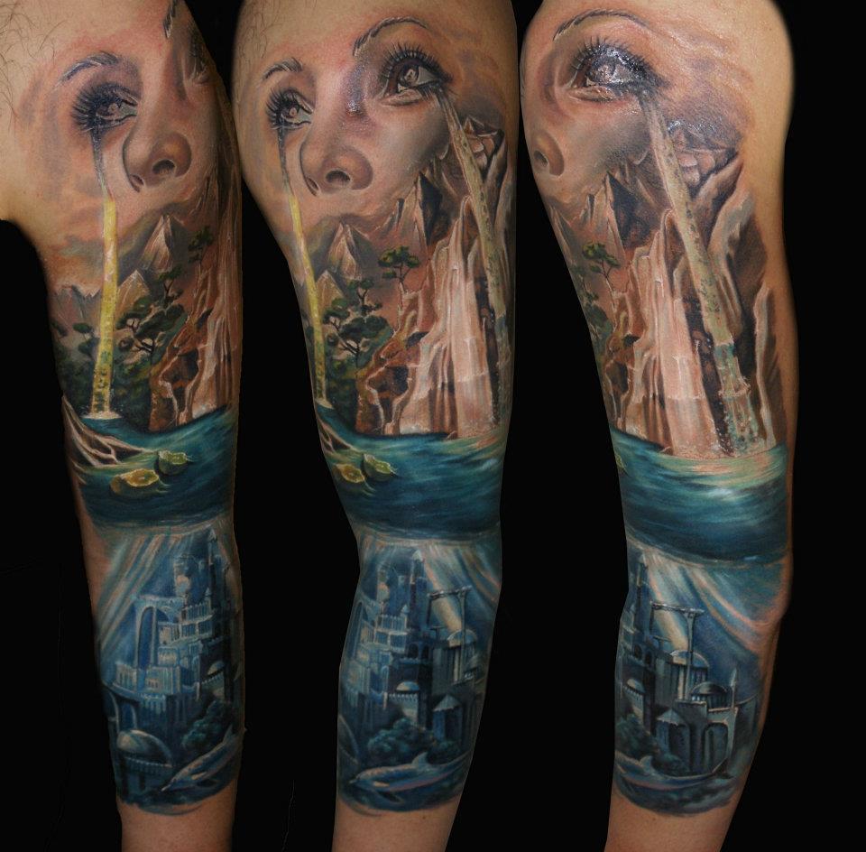 creative full sleeve tattoo by csaba kolozsvari design of tattoosdesign of tattoos. Black Bedroom Furniture Sets. Home Design Ideas