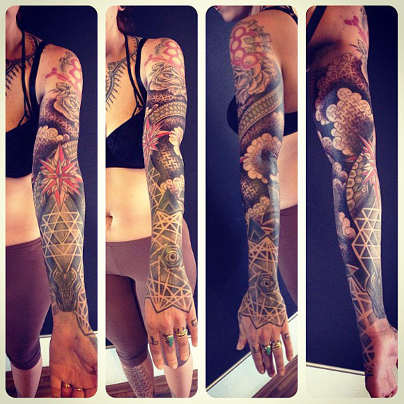 Geometric Flower Tattoo Sleeve: Flowers Geometric Full Sleeve By Gerhard Wiesbeck