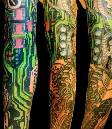 full sleeve biomechanical tattoo by delaine gilma design of tattoosdesign of tattoos. Black Bedroom Furniture Sets. Home Design Ideas