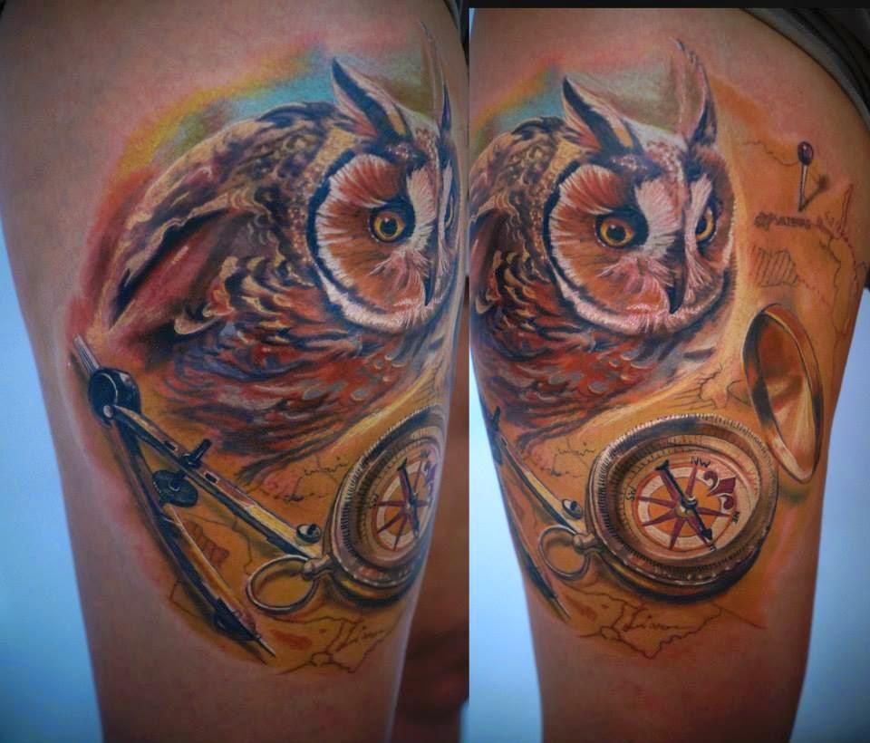 owl tattoo by Csaba Kolosvari - Design of TattoosDesign of Tattoos